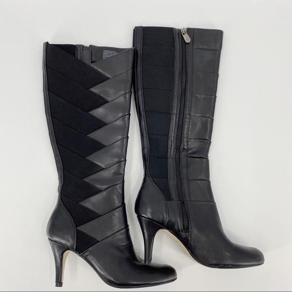 Adrienne Vittadini black traverse leather boots